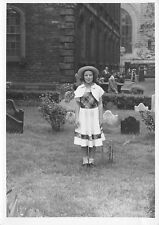 Young Girl Dress Hat Standing in Church Cemetery B & W photo