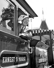WALT DISNEY RIDES THE TRAIN AT DISNEYLAND - 8X10 PUBLICITY PHOTO (RT349)