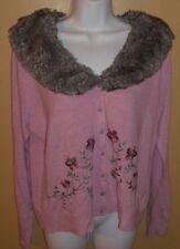 Sz XL  Bandolino Mauve Embroidery Fake Fur Sweater     Beautiful!