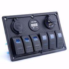 6 gang rocker switch panel +Digital Voltmeter +Cigarette +Double USB Blue LED