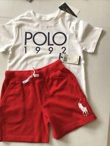 Polo Ralph Lauren Boy's 4T Shorts & Shirt Outfit Cotton Mesh Red White Logo S/S
