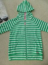 NEW BODEN ZIP UP Towelling HOODY TOP 9-10 yrs BNIP Green Stripy Pink Trim HOODIE