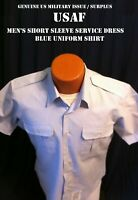 US AIR FORCE USAF SHIRT MEN'S 16.5 SHORT SLEEVE UNIFORM SERVICE DRESS BLUE