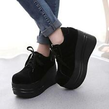 Women's Gothic Punk Lace Up Round Toe Slouch Platform Creeper Shoes Pumps 2019