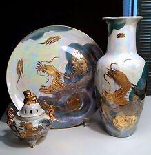 AIT0 Japan Vintage 3 pieces Porcelain Golden Dragon- Incense Burner,Vase & Dish