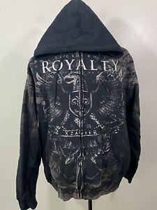 XZavier Mens Black Cotton Rock Royalty Long Sleeves Full Zip Hooded Jacket Sz XL