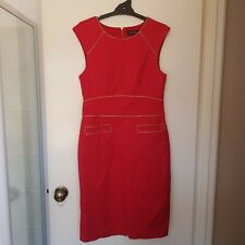 Sacoor Brother Size L Red Gold Trimmed Fitted Coctail Party Christmas Dress