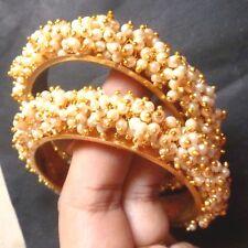 Indian Weeding Gold Plated Full Faux Pearl Set Bridal 1 Pair Bangles Churi 2.4''