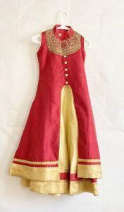 Girls Red and Golden Lehenga Choli Ghagra Indian Ethnic Wear Dress for Kids