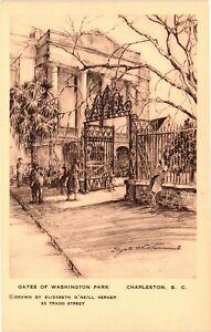 Vintage Postcard - Un-Post Gates Of Washington Park Drawing Charleston SC #5066