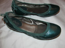 COLE HAAN MARIA SHARAPOVA BACARA teal green patent leather ballet flats shoes **