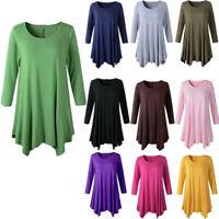 Womens Cotton Tunic Tops Long Sleeve Swing Blouses Loose T-Shirt Dress Plus Size