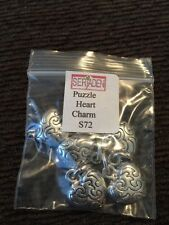 Set Of 5 Puzzle Heart Charms for jewelry making