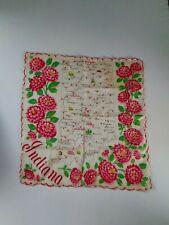 Vintage Indiana Souvenir Hanky Handkerchief