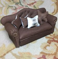 Pat Tyler Dollhouse Miniature Leather Sofa Couch Divan Settee W/Pillows p772