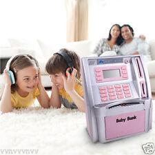 ATM Savings Bank Kids Money Toy Machine Saving Cash Coin Slot Post Bill Pink