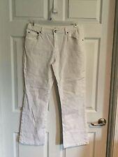 d g 2, diane gillman, woman's 12, petite, jeans, white, gemstone flag back pocke