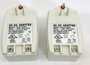 UNBRANDED LOT OF 2 AC/AC ADAPTER #PS-AC1640D 120V 60 Hz 60VA