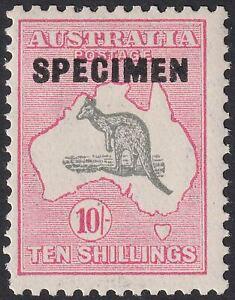 Australia 1932 KGV Roo 10sh Grey and Pink SPECIMEN SG136s watermark CofA