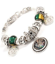 CELEBRITY Statement Silver Avalon Shell Texture Charm Bracelet By Rocks Boutique