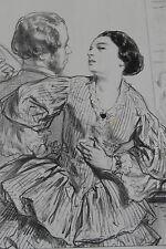 GAVARNI Lithographie originale série PAR-CI PAR-LA cocotte femme légère ...