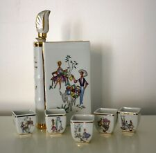 LIMOGES VINTAGE PORCELAIN COGNAC BOTTLE + Cups