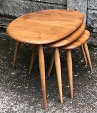 FINE SET OF ERCOL PEBBLE  COFFEE TABLES VERY CLEAN CONDITION WE DELIVER