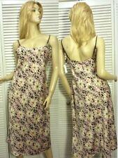 NWT $58 Cruz Natori Chemise Nightgown LARGE Pink/Brown/Ivory Floral Satin