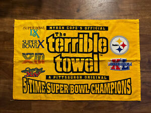 Myron Cope's Pittsburg Steelers 5x Super Bowl Champs TERRIBLE TOWEL New