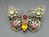 Vintage Butterfly Rhinestone Brooch Pin