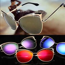 Womens Mirror Sunglasses Oversized Cat Eye Vintage Lens Fashion Metal Frame CHC