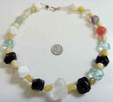vintage natural gemstones large faceted beads agate jet howlite necklace 42190