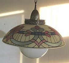 Vintage Mid 60's Art Deco Color Hanging Light Shade w/glass globe Ball & Fixture