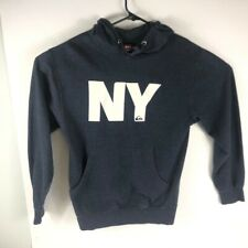Quicksilver Long Sleeve Pullover Hoodie Sweatshirt NY Logo Blue Size Small