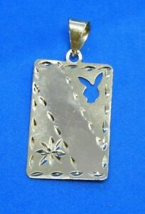 Vintage 14K Yellow Gold Playboy Bunny Playing Card or Dog Tag Charm or Pendant