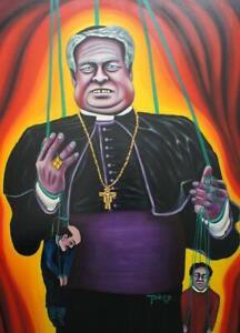 Pero Peter Roth satirisches Öl Pop Art Gemälde eines Priester 100x125cm Leinwand