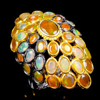 Special Unique 7x5mm Natural Orange Opal 925 Sterling Silver Ring Size 9/R121706