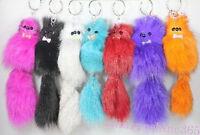 1Pc Cute Faux Fox Fur Tail Keychain Tassel Bag Charm Phone Pendant Accessories