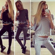 UK Womens 2 Pcs Tracksuits Set Ladies Striped Cropped Hooded Loungewear Size6-14 Dark Gray L