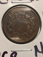 1868 Shield Two Cents Piece RARE AU++ Really Nice! Beautiful!