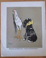 lithographie originale CECIL ALDIN - vers 1910 - venez-vous d'Amérique