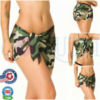 Coqueta womens CAMO Bathing Suit  Sarong Chiffon Cover Up Wrap Pareo Swimsuit