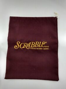 NEW ~ SCRABBLE Deluxe Replacement Drawstring Tile Bag ~ Maroon, Gold Embroidered