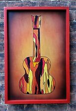 Original abstract guitar painting with custom frame