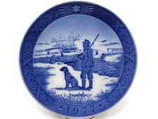 """Royal Copenhagen Denmark Blue Christmas Plate 1977 Hunting Scene Dog Hunter 7"""""""