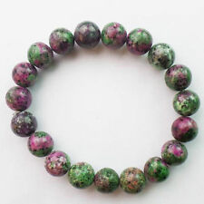 10mm Ruby in Fuchsite Pink Green Jade Round Beads Stretchy Bangle Bracelet