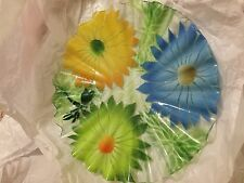 """EXC COND Sydenstricker Fused Art Glass Ruffle Plate Daisies & Dragonfly - 12"""""""