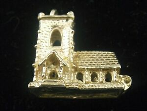 Church vintage sterling silver charm large opens wedding scene Norman Spire