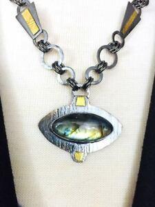 DawnManire Labradorite Sterling 22k Gold Necklace $425 Handmade