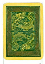 "Single Vintage Old Wide Playing Card, Reversible ""Man & Alligator"" Green/Gold"